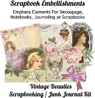 Scrapbook Embellishments: Emphera Elements for Decoupage, Notebooks, Journaling or Scrapbooks. Vintage Beauties Scrapbooking / Junk Journal Kit