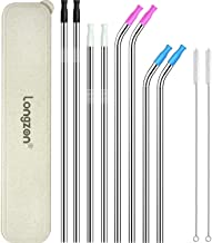 [8pcs] longzon Stainless Steel Metal Straws with 8 Silicone Tips, 8.5'' & 10.5'' Reusable Drinking Straws For 20oz & 30oz Tumblers(4 Straight + 4 Bent + 2 Brushes + 1 storage case)