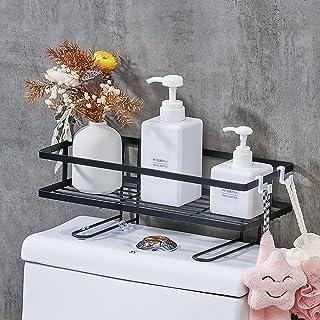 SUPERFLO Bathroom Over The Toilet Storage Shelf, Black Iron Bathroom Organizer with Hanging Hook & Adhesive Base & Toilet ...