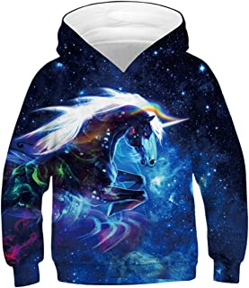 GLUDEAR Teen Boys Girls Novelty Animal Galaxy Hoodies Sweatshirts Pullover 4-13Y