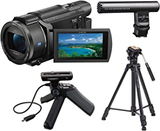 SONY FDR-AX53 4K Ultra HD Handycam Camcorder Black Bundle Kit with Sony GPVPT1 Grip and Tripod for Camcorders + Sony ECM-GZ1M Gun/Zoom Microphone +Takama 66 inch 3 Section Tripod