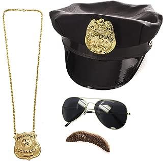 Tigerdoe Police Costume Accessories - 4 Pc Set - Police Hat, Mustache and Aviator Glasses