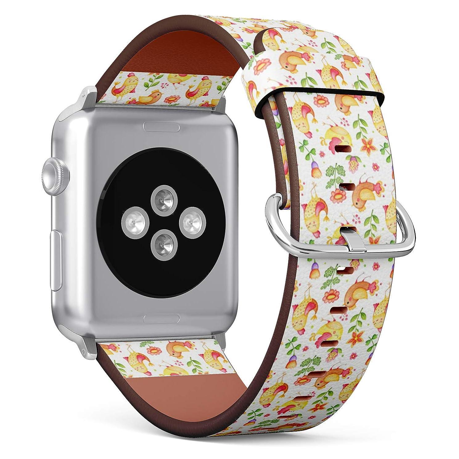 戦う劇的サーキットに行くコンパチブル Apple Watch iWatch 42mm & 44mm - 本革レザーストラップ, 向けのバンド交換ストラップです コンパチブル アップルウォッチ バンド (かわいい鳥の花)