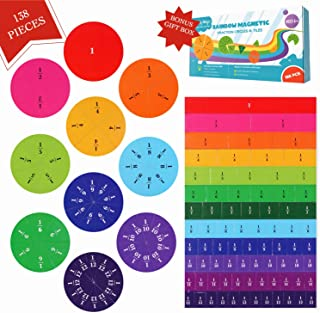 Simply Magic 138 PCS Magnetic Fraction Tiles & Fraction Circles - Math Manipulatives for Elementary School - Fraction Magnets & Resources - Fraction Strips & Bars - Magnetic Learning Resources