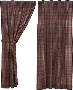 VHC Brands Primitive Rustic & Lodge Window Tartan Red Plaid Short Curtain Panel Pair, Set 63x36