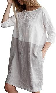 Women's Plus Size 3/4 Sleeve Loose Cotton Linen Top Shirt Dress S-3XL