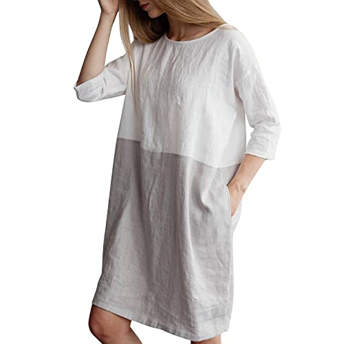 ca5a78dd138 YOUBENGA Women s Plus Size 3 4 Sleeve Loose Cotton Linen Top Shirt Dress S-