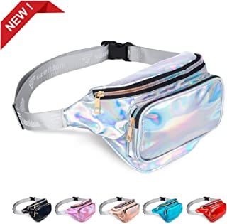Fanny Pack Belt Bag, Holographic Fanny Packs Women Men Kids, Fashion Waterproof Waist Pack 3 Pouches Adjustable Strap, Shiny Causal Bags Cute Bum Bag Hip Sacks for Travel Festival Hiking Rave