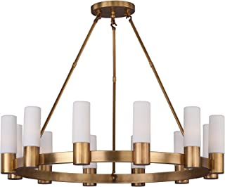 Maxim 22419SWNAB Contessa 12-Light Chandlier, Natural Aged Brass Finish, Satin White Glass, CA Incandescent E12 Incandescent Bulb , 25W Max., Dry Safety Rating, Standard Dimmable, Bubble Glass Shade Material, Rated Lumens
