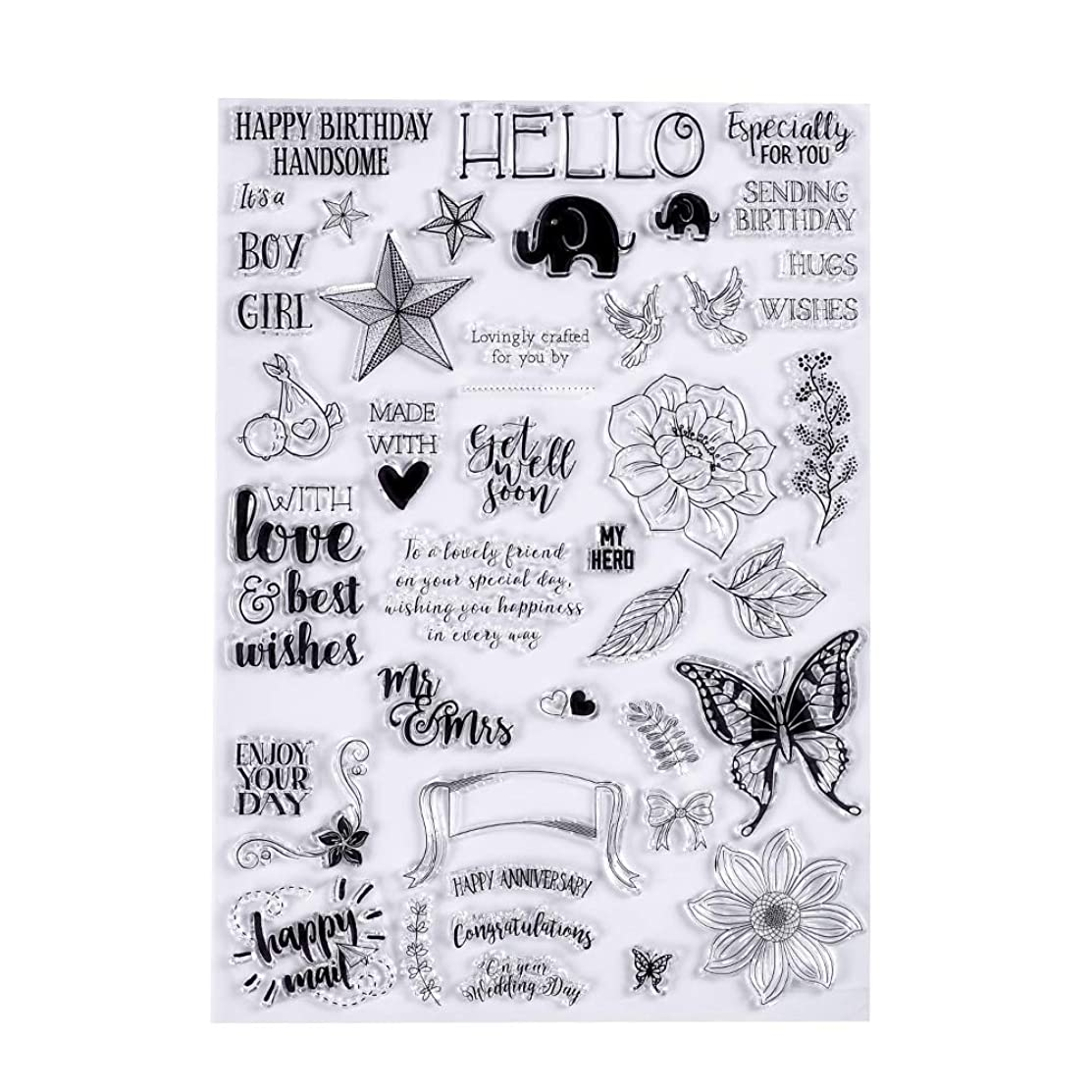 MaGuo Blessing and Greeting Rubber Clear Stamps with Flower Leaves and Butterfly for Decoration Paper Craft