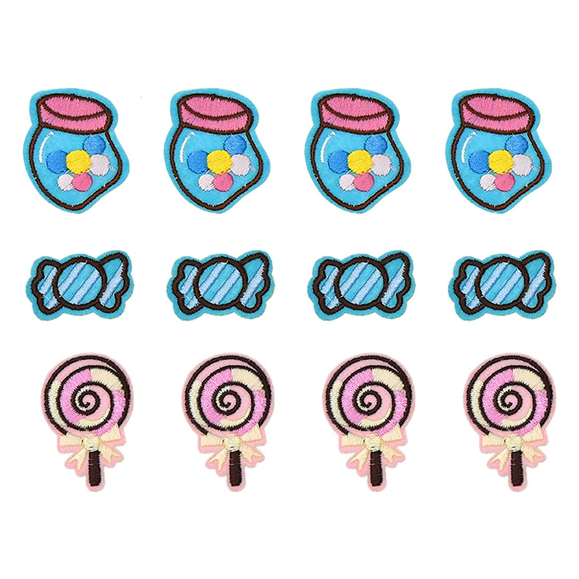 Monrocco 12Pcs Candy Sweet Lolly Patch Iron On Patch Fabric Applique Motif Decal for Jackets Clothes Bags
