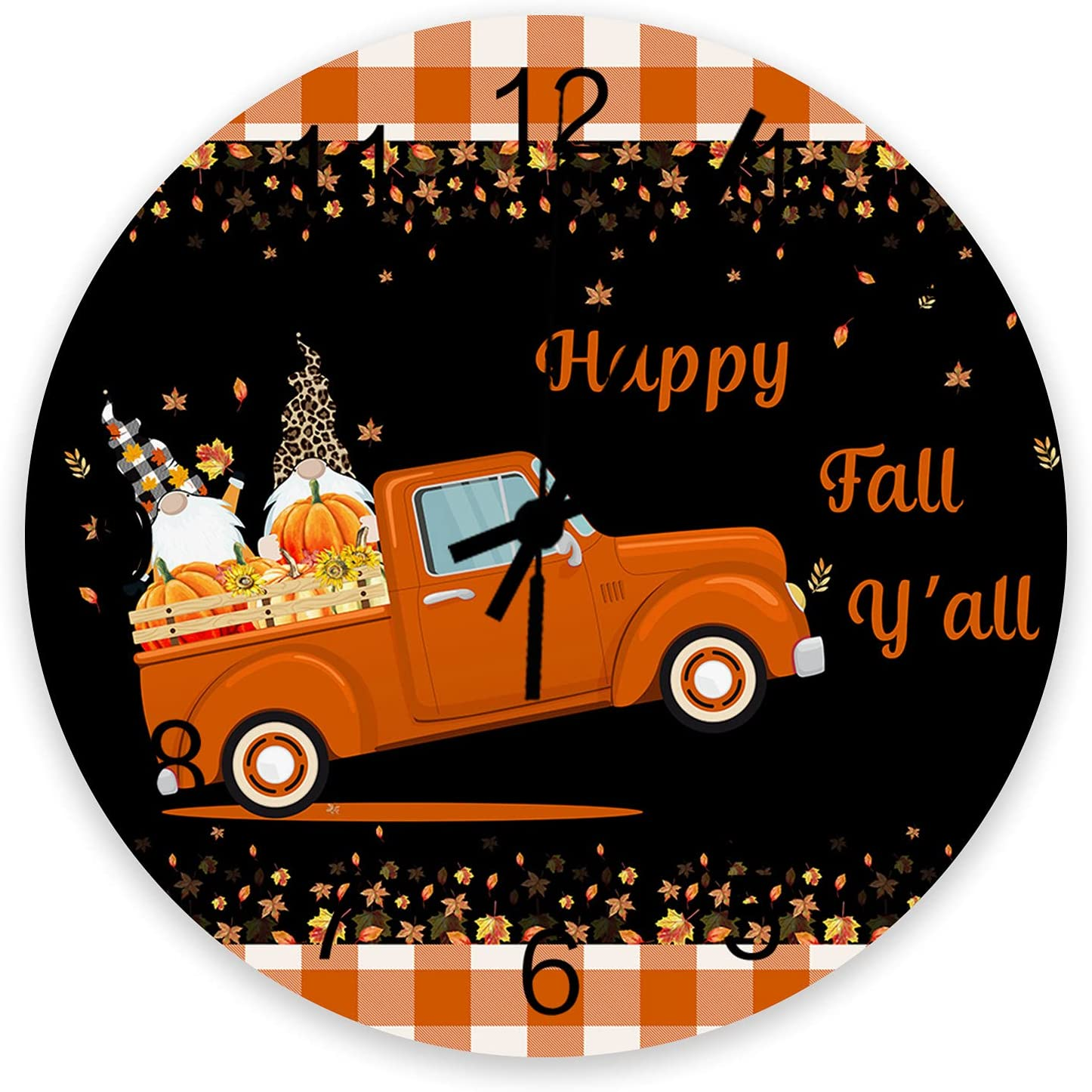 Wood Round Wall Limited Special Price Clock 12 Thanksgiving Gnome Inch Pumpkin Great interest Truck