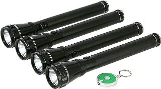 Krypton Rechargeable Waterproof Flashlight, Black, 4 Pieces