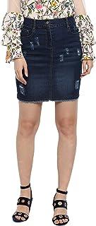 StyleStone (3372ScratchSkrt) Women's Distressed Denim Skirt