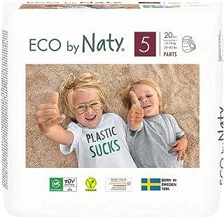 Eco by Naty, Pañales Pants, Talla/Tamaño 5, 80 pañales, 12-18kg, suministro para UN MES, Pañales pants ecológicos premium hechos a base de fibras vegetales. Sin sustancias nocivas
