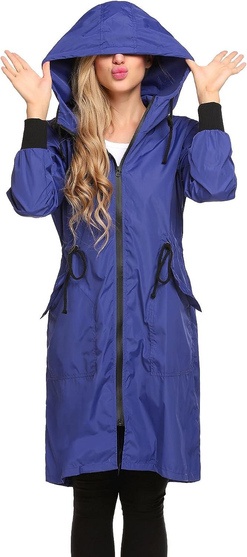 ELESOL Long Rain Jacket Women Lightweight Rain Coat Hooded Active Outdoor Jackets Zipper Waterproof Windbreaker S-XXXL