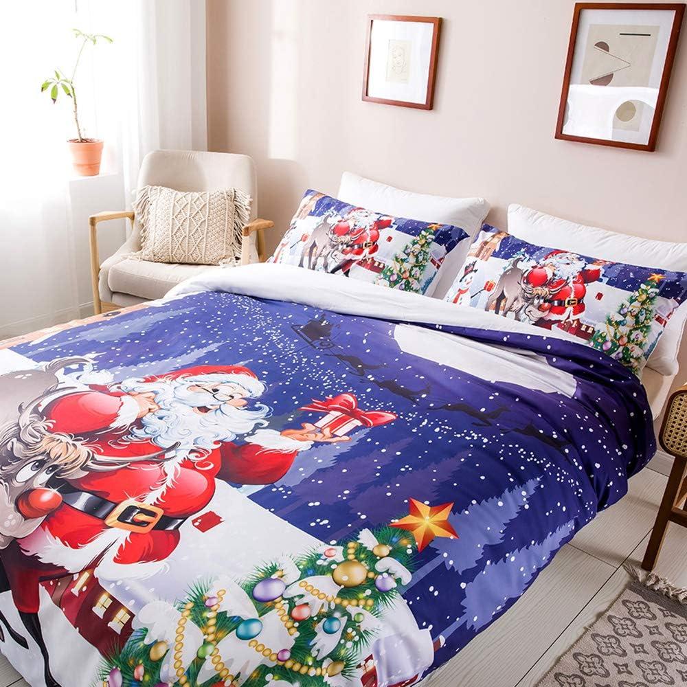 motivo Babbo Natale Set copripiumino con motivo natalizio 200 x 200 cm 100/% microfibra di poliestere OLDBIAO