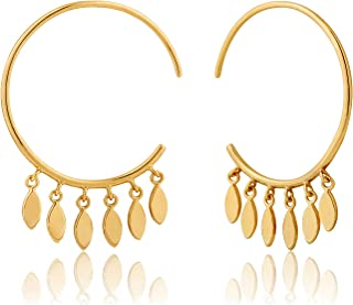 925 Sterling Silver Large Tassel Ethnic Indian Hanging Hoop Earrings for Women, 14K Gold Plated