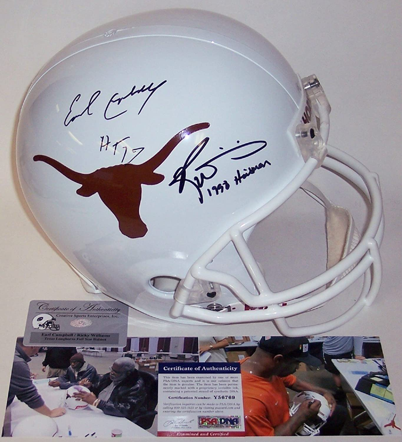 Earl Campbell & Ricky Williams Autographed Hand Texas Longhorns Full Size Helmet  PSA DNA
