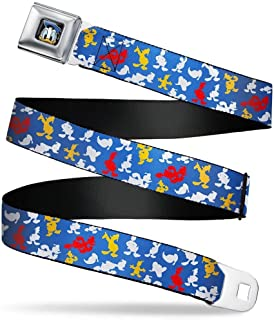 Men's Seatbelt Belt XL, Donald Duck Elements Scattered Black/Blues/Yellow, 1.5