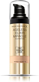 Max Factor Ageless Elixir 2-in-1 Foundation and Serum, SPF 15, 45 Warm Almond