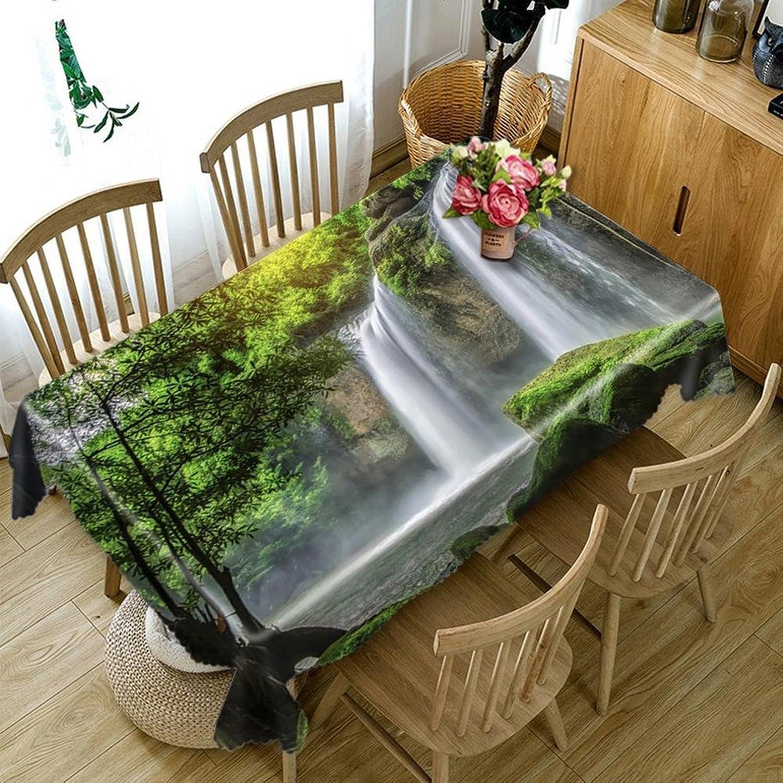 Tablecloth 3D Mountain Stream Waterfall Digital Printing Dustproof Dinner Desktop Top Cover Rectangular Tablecloth