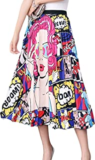 Women's Face Portrait Graffiti Cartoon Print Skirt Pleated Elastic Waist A-Line Long Colorful Boho Swing Party Skirt