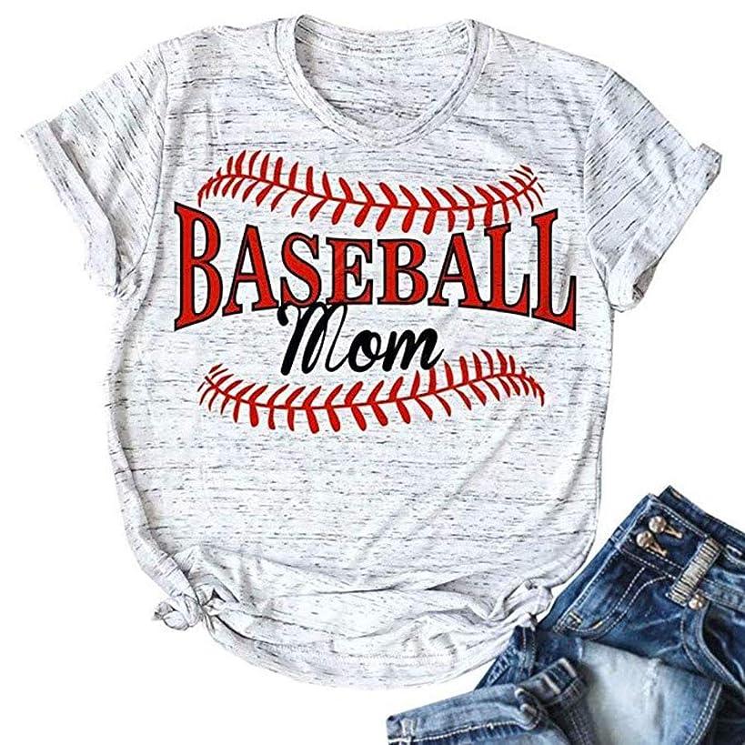 ALLTB Baseball Mom Shirt for Women Summer Short Sleeve Cotton T Shirt Lady Graphic Tees Tops
