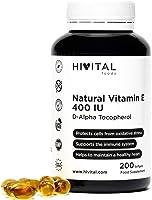 Vitamina E Natural 400 UI | 200 perlas, (Más de 6 meses de suministro) | Potente antioxidante que protege las células...