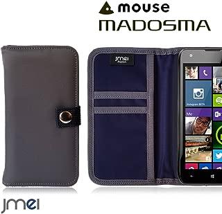 MADOSMA Q501 ケース jmeiオリジナルMA-1手帳ケース GAEA グレー simフリー マドスマ mouse computer スマホ カバー スマホケース 手帳型 ショルダー 耐衝撃 スマートフォン カードホルダー