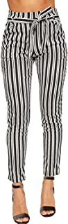 Women's Monochrome Striped Belted Pocket Crepe Skinny Leg Trousers - Black White - US 6 (UK 10)