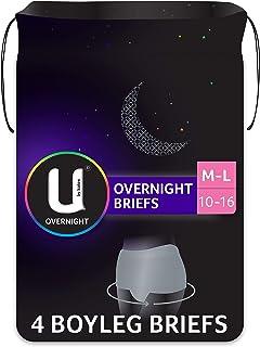 U By Kotex Overnight Briefs Grey M/L Sizes 10-16 4 Pack
