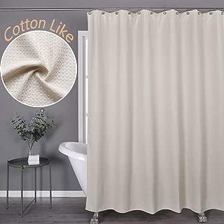 Aniello Khaki Shower Curtain Waffle Weave Fabric Cotton Like 230 GSM for Bathroom,Spa, Water Proof Hookless Cloth Shower Curtains Decorative Bathroom,70