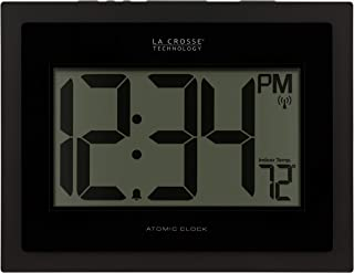 La Crosse Technology 513-54087-INT Atomic Digital Wall Clock with Indoor Temperature, Black