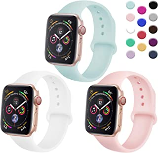 TIMTU Sport Bands Compatible with Apple Watch 42mm 44mm, Soft Silicone Bracelet Compatible with Series 4 3 2 1, Women Men, 3 Pack, S/M White/Turquoise/Sand Pink