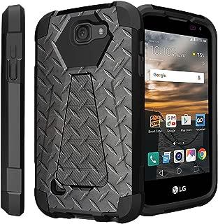 Untouchble Case for LG K3 black Case| LG LS450 (Virgin Mobile, Boost Mobile)[Traveler Series] Shell Defender with Built in Kickstand, Two Piece Hybrid Case - Steel Plate
