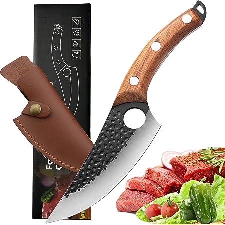 Akatomo couteau à couperet chinois à la main forgé cuisine Chef couteau couteau à désosser couteau à légumes couteau de boucher couteau à viand couteau à éplucher pour Camping en plein air BBQ (brown)