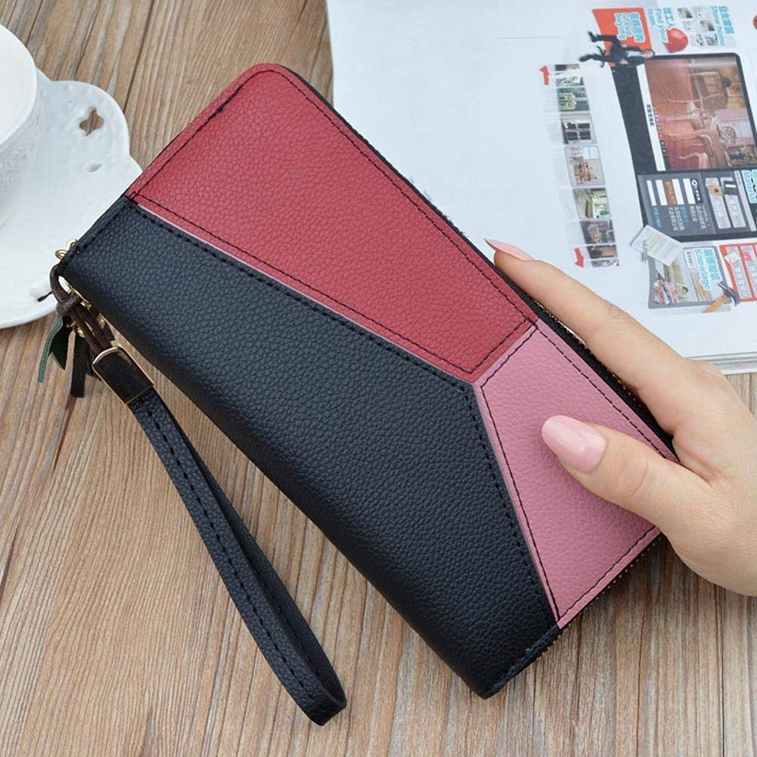 Girls Purse Women's Wallet,Ladies Wallet Large Zipper Multifunctional Hand Bag Female Bulk Wallet PU Leather (color   H)