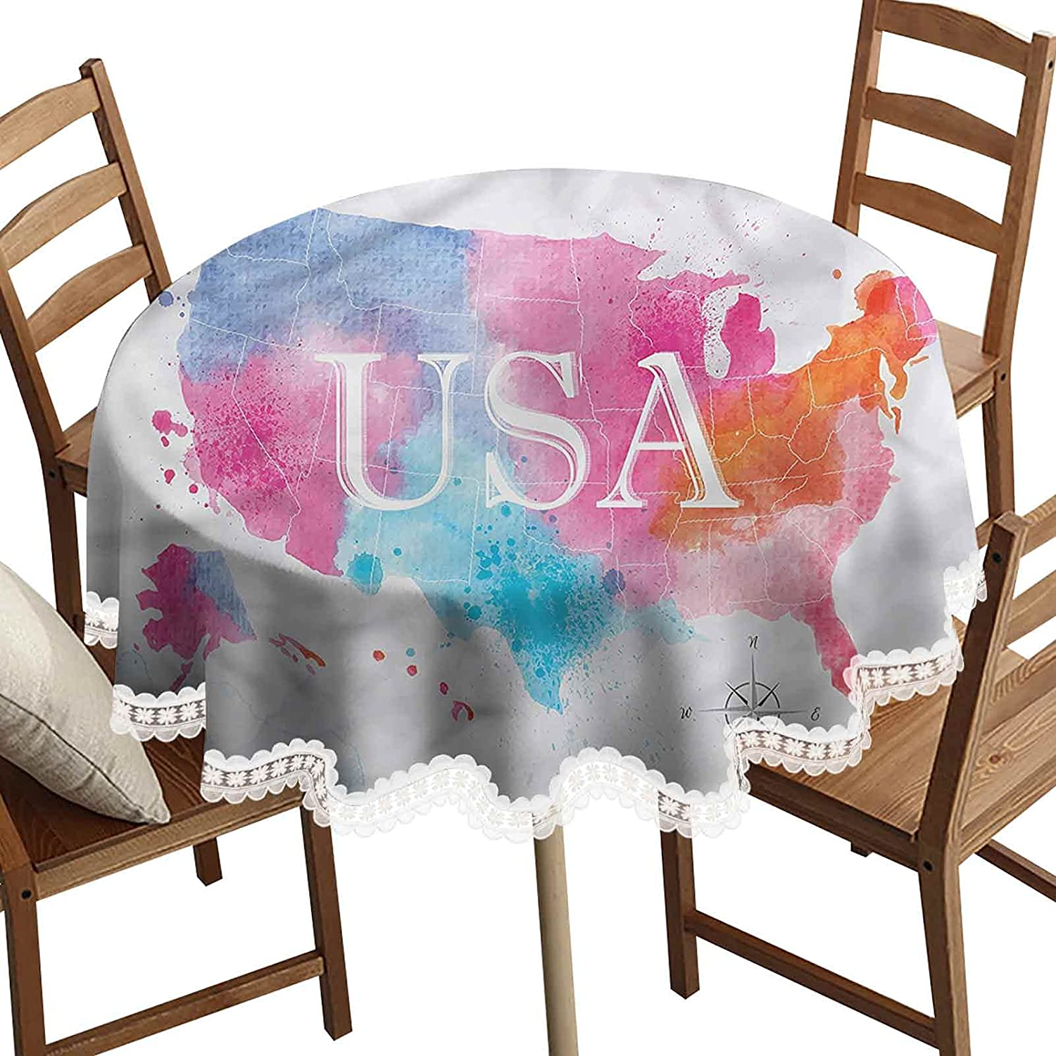 USA Map Round Popularity Decorative New product type Tablecloth America Style Wa Watercolor
