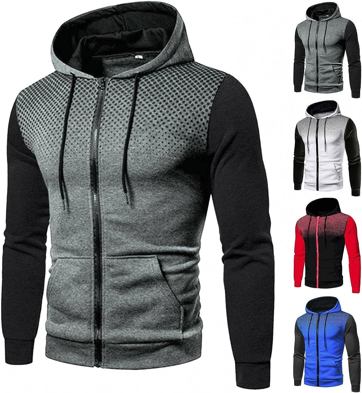 Hoodies for Men Men's Autumn And Winter Stitching Casual Polka Dot Zipper Pocket Hooded Fashion Hoodies & Sweatshirts
