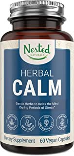 Herbal Calm Supplement   Organic Ashwagandha Root Powder & Holy Basil   Stress Relief and Support for Feelings of Anxiety   Calming Mind and Nervous System & Positive Mood   60 Vegan Capsules