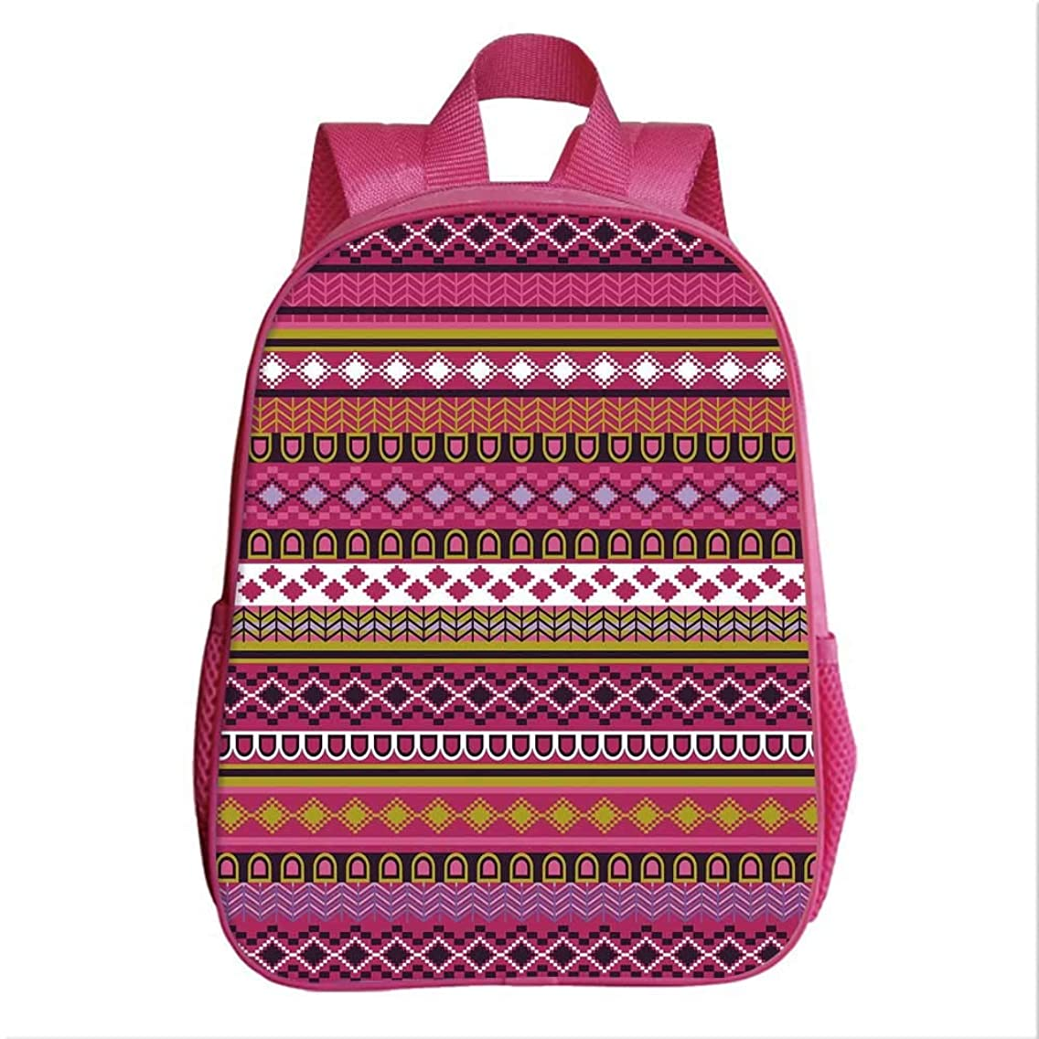 Pink Backpack Bookbag,Traditional African Motifs and Borders Ethnic Tribal Accents Vintage Native Folk Art Decorative for Kindergarten Child,9.4''Lx4.7''Wx11.8''H
