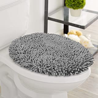 LuxUrux Toilet Lid Cover, Extra-Soft Plush Seat Cloud Washable Shaggy Microfiber Standard Toilet Lid Covers for Bathroom M...