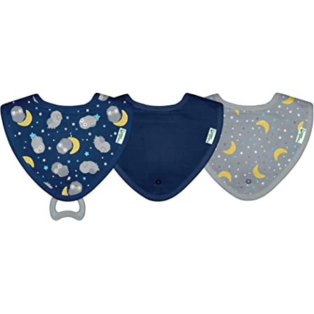 DELEKO Sheep /& Clover cotton BIB with a TEETHER from maple tree handmade natural ecological Perfect for babies who teethe !