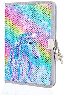 Play Tailor Girls Diary with Lock and Key, Kids Unicorn Sequin Writing Journal Notebook