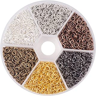 PH PandaHall Elite About 3300 Pcs Iron Open Jump Rings Unsoldered Diameter Wire 21 Gauge 6 Colors For Jewelry Findings 4mm...