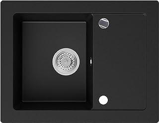 Granitspüle Schwarz 64 x 49 cm, Spülbecken  Siphon Automatisch, Küchenspüle ab 45er Unterschrank in 5 Farben mit Siphon und Antibakterielle Varianten, Einbauspüle von Primagran