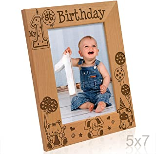 Kate Posh - My First (1st) Birthday Picture Frame - Engraved Natural Wood Photo Frame - First Birthday Gifts, First Birthday Boy, First Birthday Girl, First Birthday Decorations (5x7-Vertical)