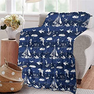 Navy Blue Bedding Flannel Blanket Sailboat Vertical Stripe Pattern Anchor Fishes Gulls Paint Effect Nautical Theme Super Soft and Comfortable Luxury Bed Blanket W70 x L84 Inch Blue White