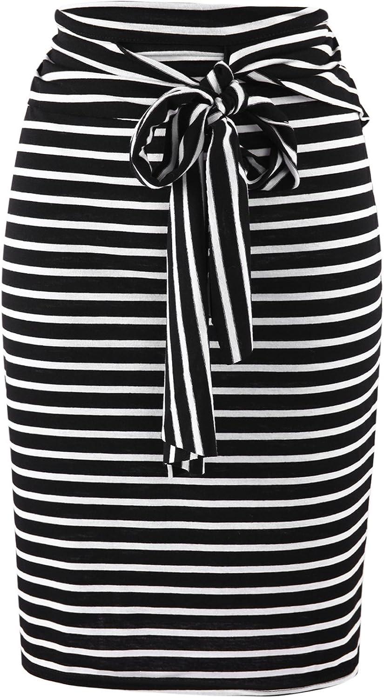 Misscat Short Striped Skirts for Women Elastic Waist Midi Length Belted Pencil Skirt Casual Office Dress